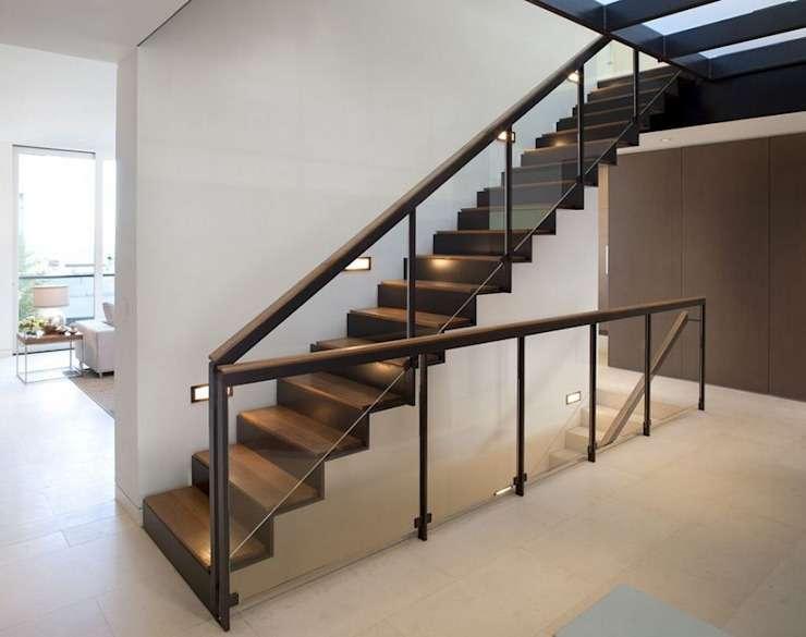 Cầu thang sắt hộp kết hợp gỗ