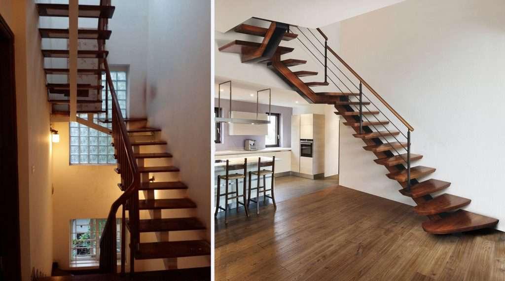 Cầu thang sắt bậc gỗ đơn giản