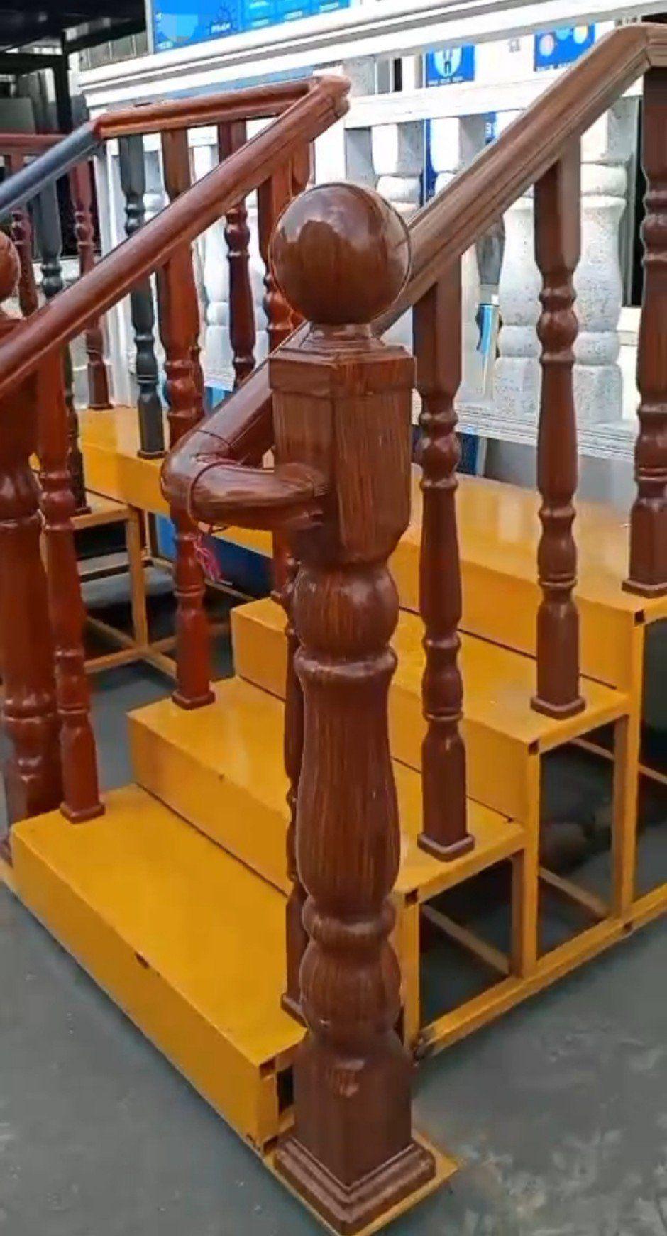 Cầu thang sắt vân gỗ - Cầu thang thép vân gỗ