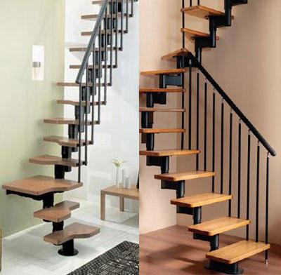 Cầu thang bằng thép kết hợp bậc thang gỗ